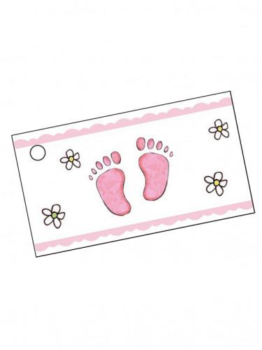 10 étiquettes papier pied rose Baptême Fille