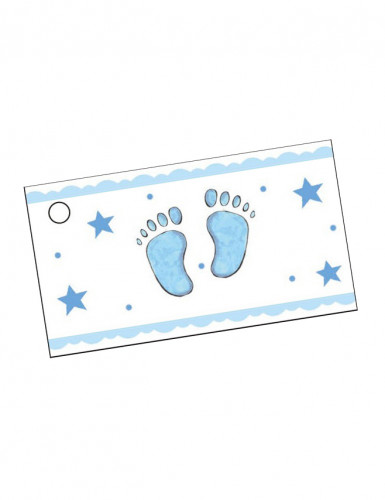 10 étiquettes papier pied bleu Baptême Garçon