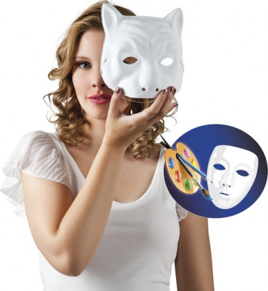 Masque chat blanc à peindre adulte