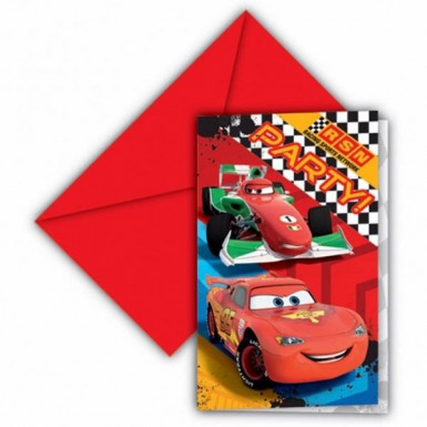 6 invitations carton Cars RSN ™