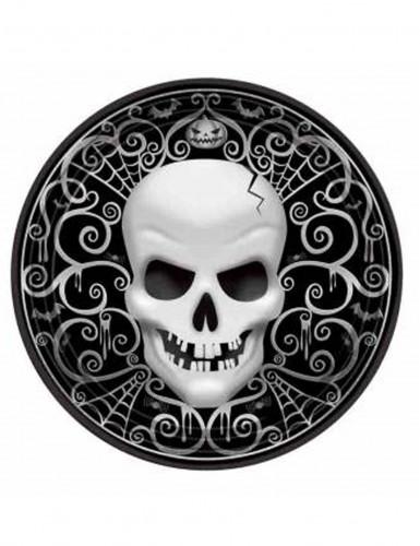 8 Assiettes en carton Tête De Mort Halloween 27 cm