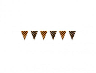 Guirlande fanions à pois noir et orange-1