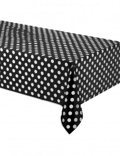 Nappe plastique noire à pois 137 x 274 cm