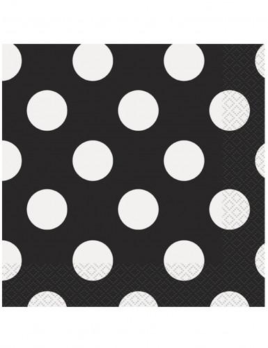 16 Serviettes en papier Noires à pois blancs 33 x 33 cm