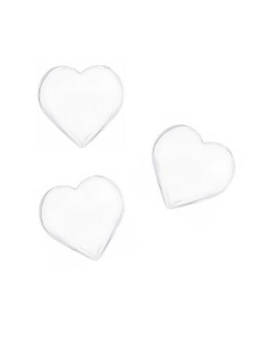 12 coeurs transparents 2,8 x 2 cm