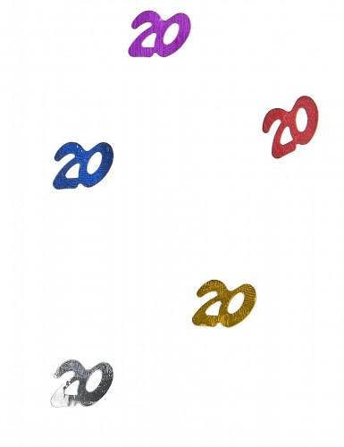 Confettis de table multicolores chiffre 20