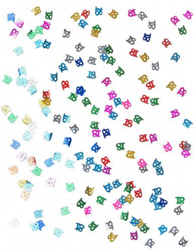 Confettis de table multicolores chiffre 18-1