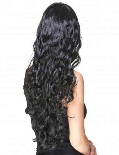 Perruque glamour longue noire avec boucles femme-1