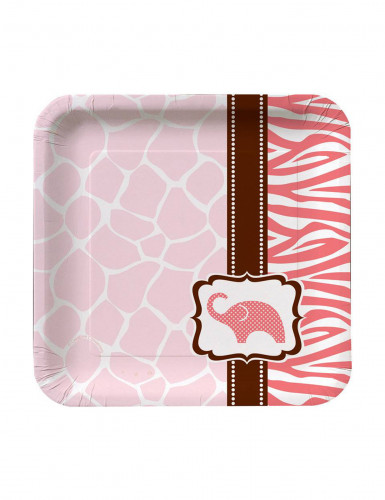 8 Petites assiettes en carton Safari pink 18 cm