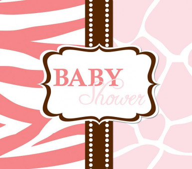 8 Cartes d'invitation Baby Shower Safari Rose