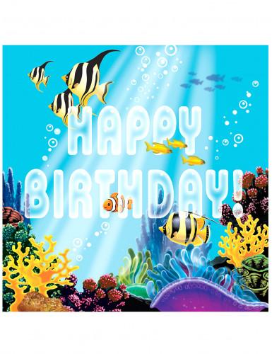 16 Serviettes en papier Happy Birthday océan 33 x 33 cm