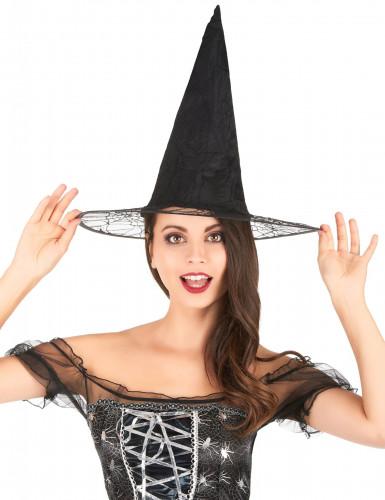 Chapeau de sorcière toile araignée adulte Halloween-1