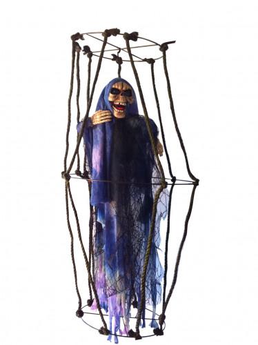 Décoration à suspendre squelette en cage lumineuse