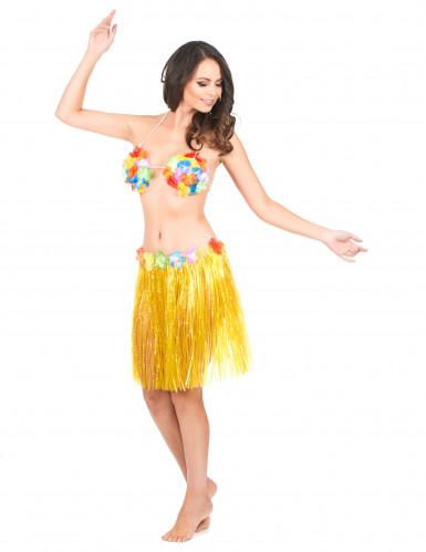 Jupe hawaïenne courte jaune adulte-1