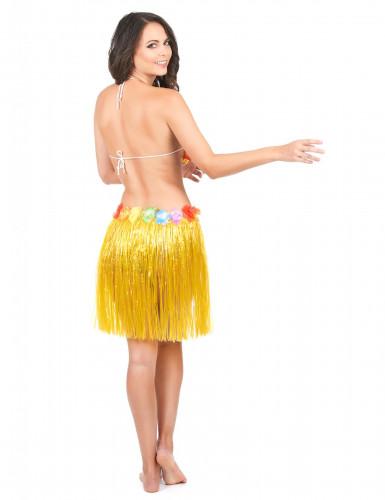 Jupe hawaïenne courte jaune adulte-2