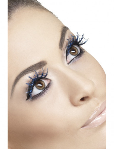 Faux cils longs  bleu toile d'araignée adulte