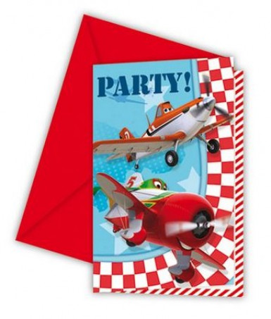 6 Cartes invitation + enveloppes Planes™