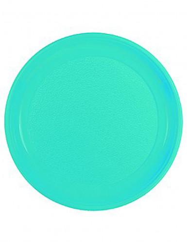 20 Assiettes turquoises en plastique 22 cm