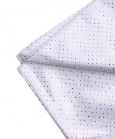 Nappe en tissu rectangulaire blanche et or 140 x 240 cm