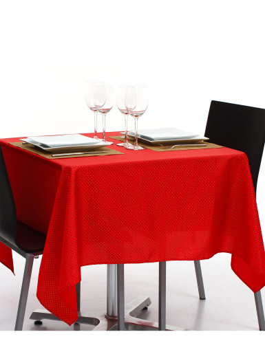 Nappe carrée en tissu rouge et or  140 x 140 cm-1
