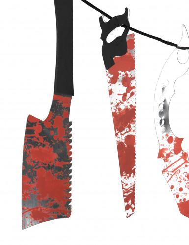 Guirlande outils ensanglantés Halloween-1