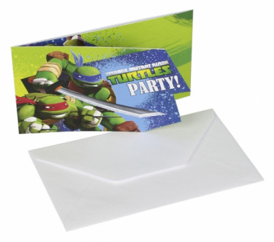 Lot de 6 Cartes d'invitation + enveloppes les Tortues Ninja™