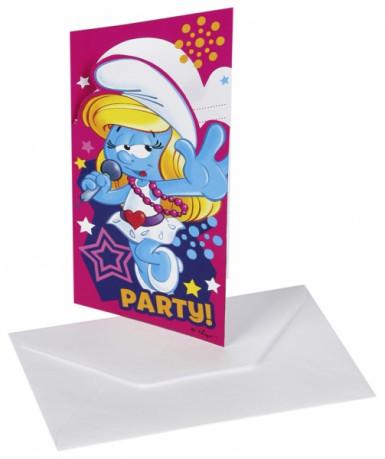 6 cartes d'invitation + enveloppes Schtroumpfette™