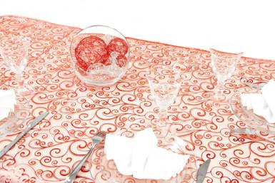Nappe organza arabesque rouge 150 x 300 cm