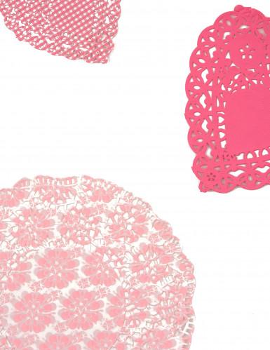 30 Napperons en papier roses Pink Party-2