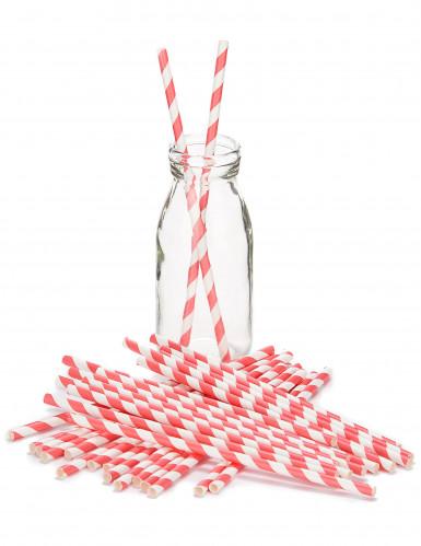 30 Pailles rétro rayées rouges et  blanches -1