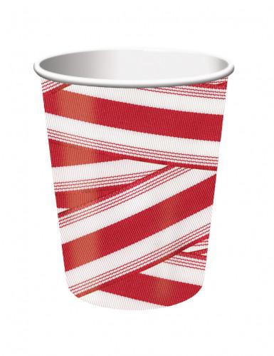 8 gobelets rouge et blanc rétro