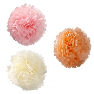 3 Décorations pompons à suspendre pastels