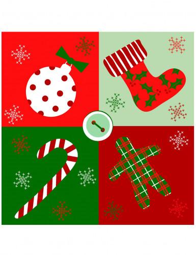 20 Serviettes en papier Noël rouge et vert 33 x 33 cm