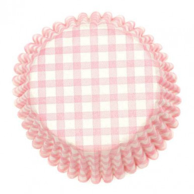 54 moules à cupcake à carreaux rose et blanc