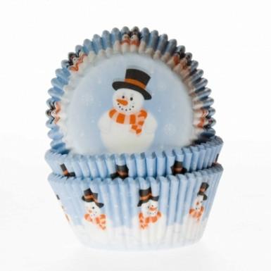 50 Moules à cupcake bonhomme de neige