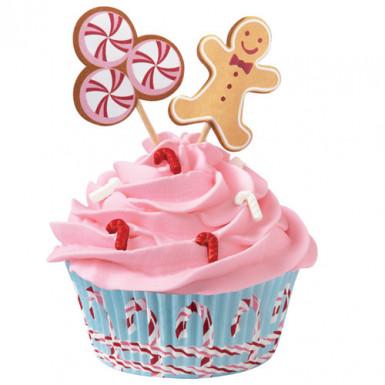24 Moules à cupcakes avec décorations Wilton™ pain d'épices Noël
