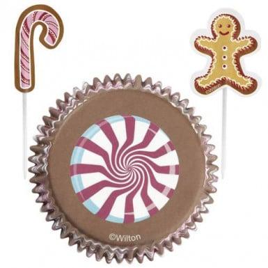 24 moules à cupcakes et pics de décoration Noël