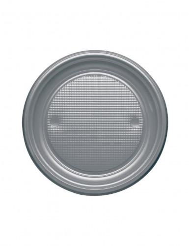 25 Petites assiettes argentées en plastique 17 cm