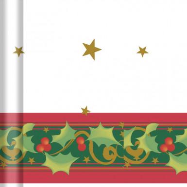 Nappe en rouleau papier damassé Houx de Noël