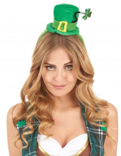 Serre-tête mini chapeau tige trèfle femme Saint Patrick-1