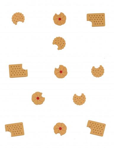 12 Confettis de table en bois petits gâteaux-1