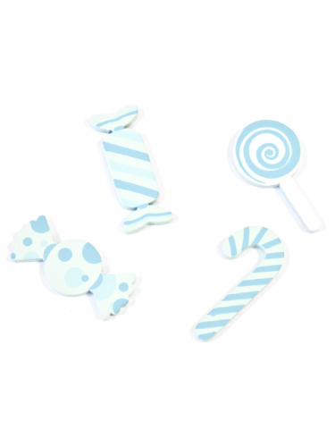 9 Confettis de table en bois Bonbons bleus-1