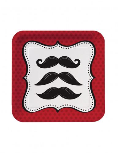 8 Petites assiettes carrées en carton Moustaches 18 cm
