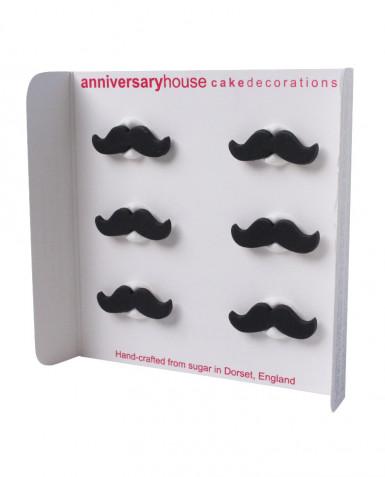 6 Décorations en sucre Moustache