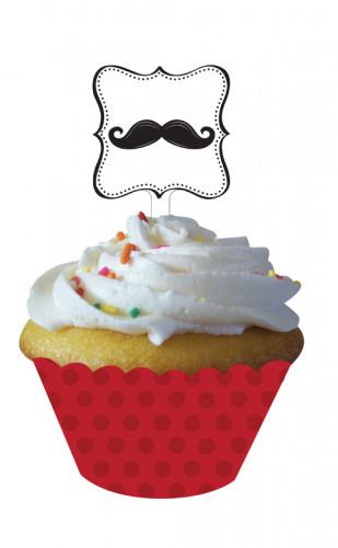 12 Décorations pour cupcake Moustache