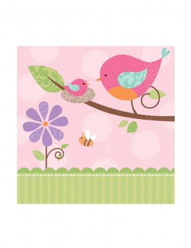 16 Petites Serviettes en papier Oiseau rose 25 x 25 cm