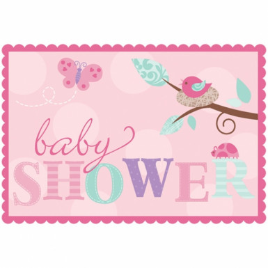 8 Invitations baby shower L'Oiseau Rose