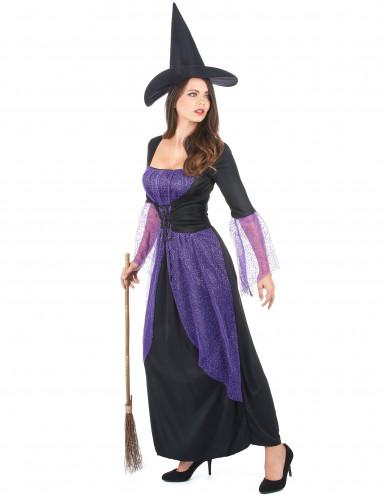 Déguisement sorcière violette femme-1