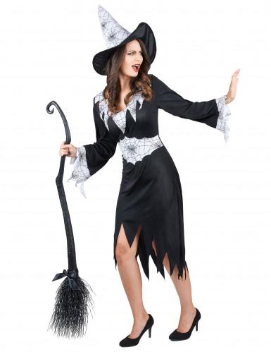 Déguisement sorcière noir et blanc femme-1