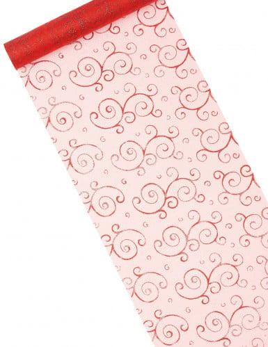 Chemin de table rouge en organza 5 m : motifs arabesques paillettes